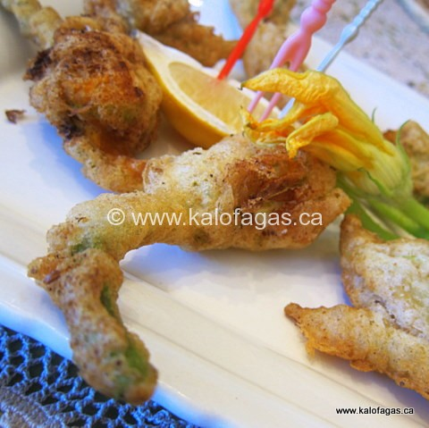 ... Fried Zucchini Blossoms in Ouzo Batter Fried Calamari Crispy Fried