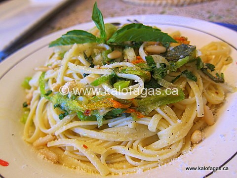 Zucchini Blossoms With Linguine, Basil & Pine Nuts