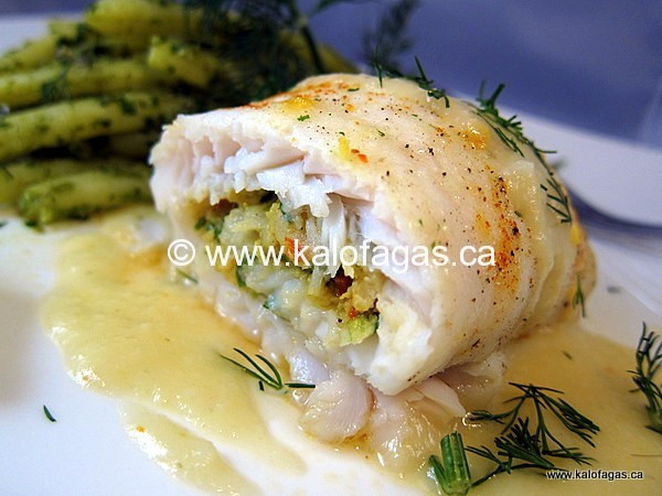 Shrimp Stuffed Sole With Lemon Sauce