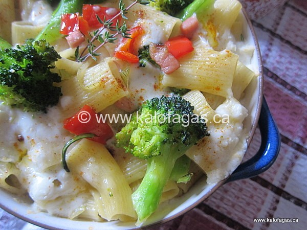 Pasta With Broccoli, Cheese & a Little Pig