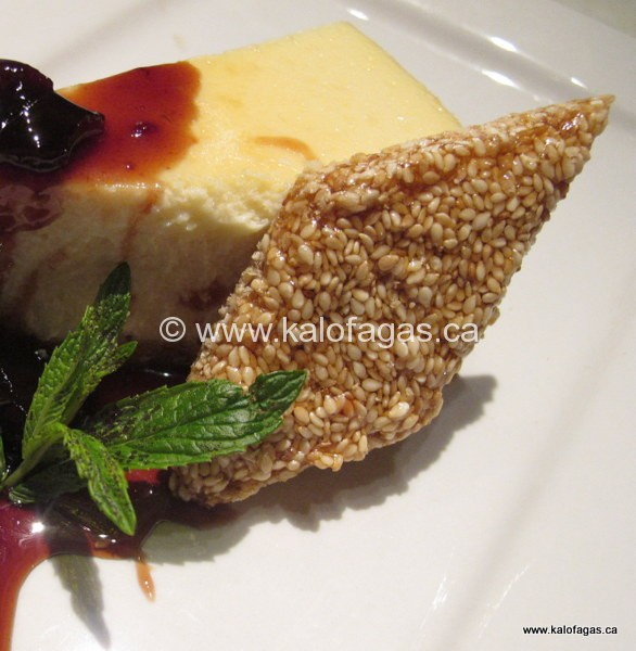 Feta Cheesecake With Sour Cherry Spoonsweet & Sesame Snaps