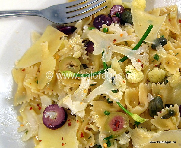 Bow-Tie Pasta With Cauliflower, Olives & Graviera Cheese