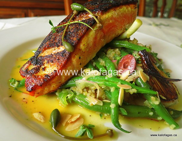 Seared Lemon Salmon With Green Beans and Bulgur