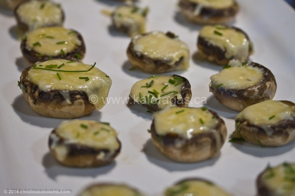 Baked Mushrooms Stuffed With Kefalotyri Cheese