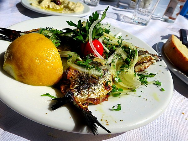 Grilled sardines stuffed with onions and parsley