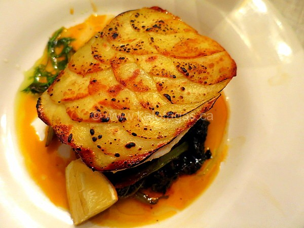 potato crusted fish with braised greens kalofagas