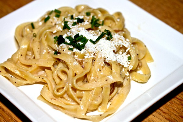 Pasta with Caramelized Onions, Greek Yogurt and Cheese